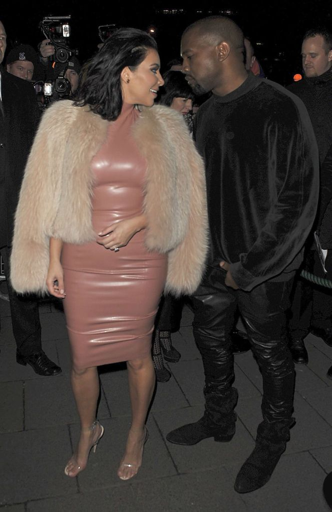 Kim Kardashian in Sexy Latex Dress with Kanye