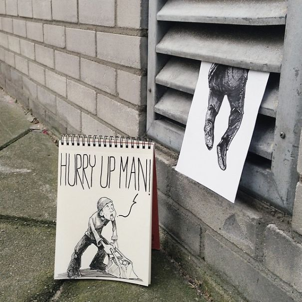 Cartoons Invade the Surroundings To Make People Smile