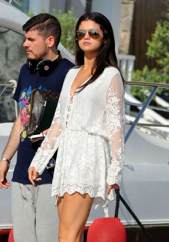 Selena Gomez Leaving Hotel in Ischia by Boat