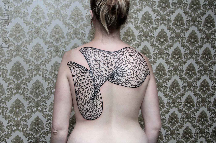 Geometric Line Tattoos Flow Across The Human Body