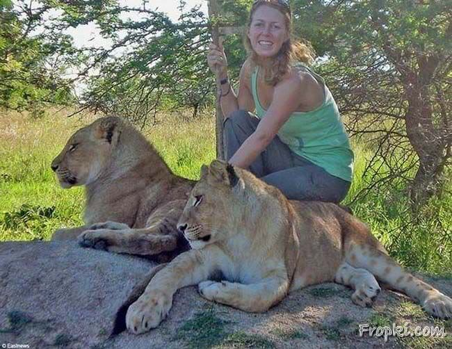 Amazing Woman Playing with Tigers